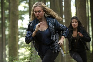 Grounded sky dwellers Clarke and Octavia, either running into trouble or running from it.